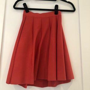 Orange Parker pleated skirt